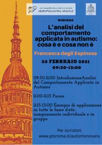Analisi del comportamento applicata in autismo – Webinar a cura della Dott.ssa F. degli Espinoza